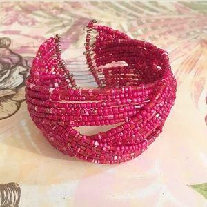 Jewelry - Red Bead Braided Cuff Bracelet